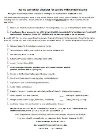 Income Worksheet Checklist