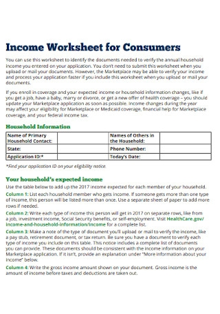 Income Worksheet for Consumers