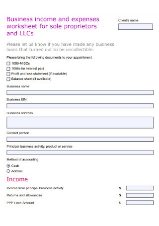 Income and Expense Worksheet for Sole Proprietors