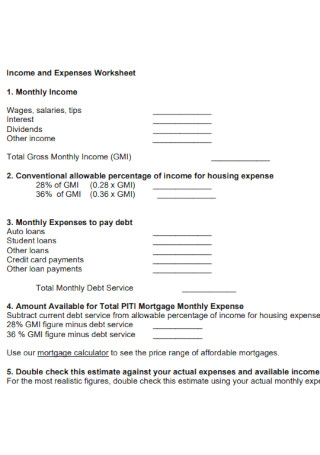 Income and Expenses Worksheet Format
