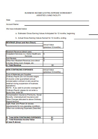 Income and Extra Expense Worksheet