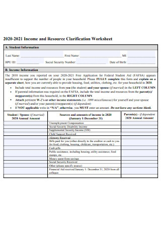 Income and Resource Clarification Worksheet