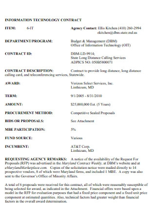 Information Technology Corporate Contract