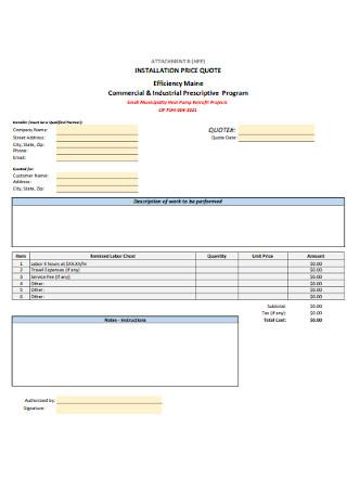 Installation Price Quote