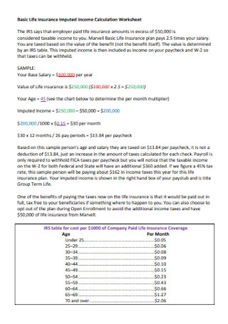 Insurance Imputed Income Calculation Worksheet