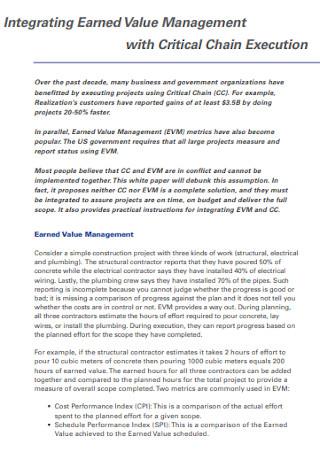 Integrating Earned Value Management
