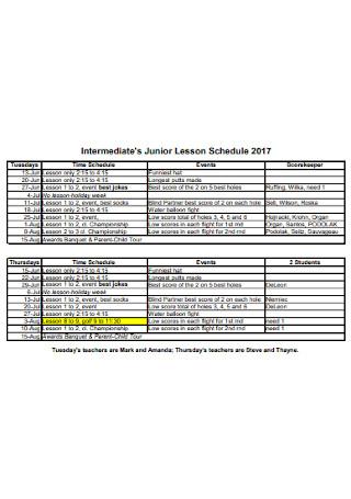Intermediate Junior Lesson Schedule