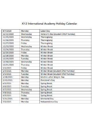 International Academy Holiday Calendar