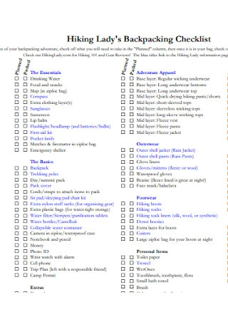 Lady Backpacking Checklist