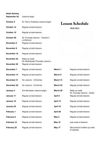 Lesson Schedule in PDF
