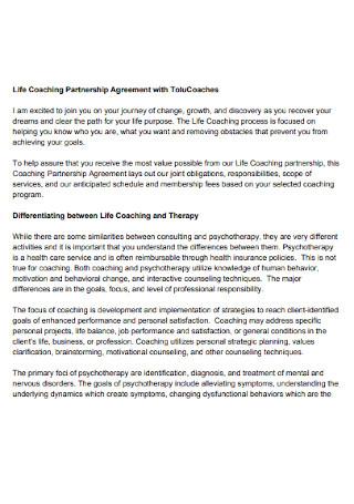 Life Coaching Partnership Agreement