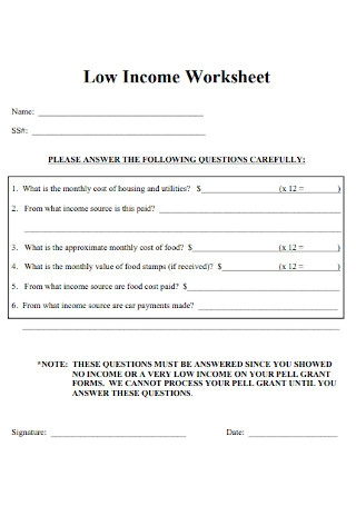 Low Income Worksheet