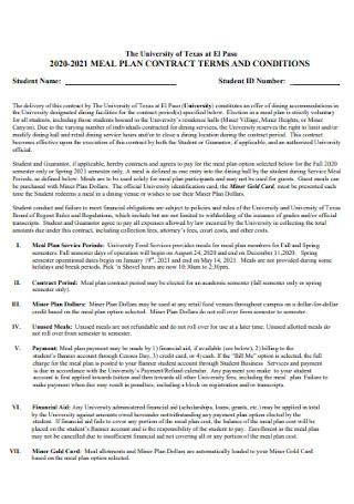 Meal Planner Contract