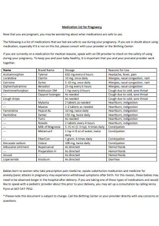 Medication List for Pregnancy