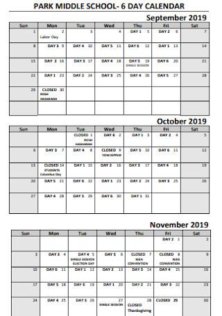 Middle School Quaterly Calendar