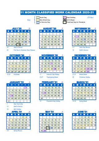 Month Classified Work Calendar
