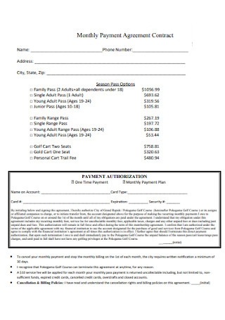 Monthly Payment Agreement Contract