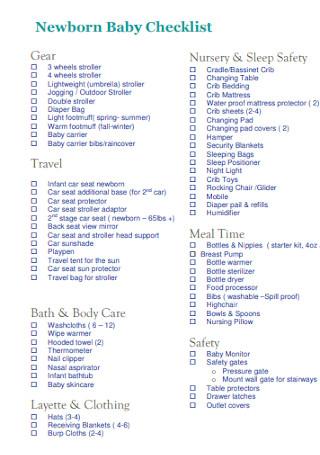 Newborn Baby Checklist Template