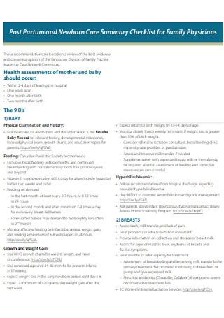 Newborn Care Summary Checklist