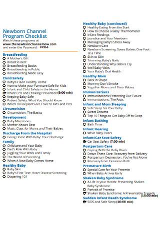 Newborn Channel Program Checklist