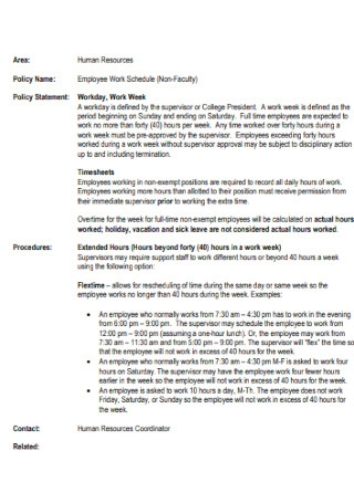 Non Faculty Employee Work Schedule