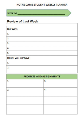 Notre Dame Student Weekly Planner