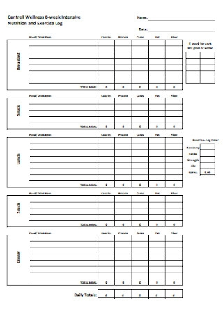 Nutrition and Exercise Log