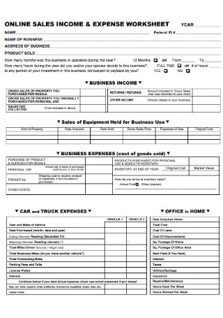 Online Sales and Income and Expense Worksheet