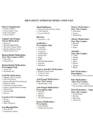 Patient Approved Medication List