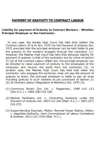 Payment of Gratuity to Contract