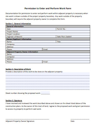 Perform Work Form Template