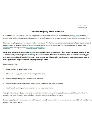 Personal Property Home Inventory Spreadsheet