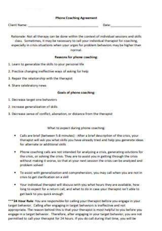 Phone Coaching Agreement
