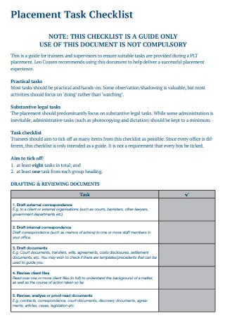 Placement Task Checklist