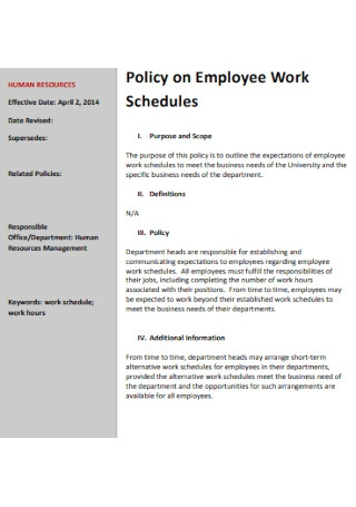 Policy on Employee Work Schedule