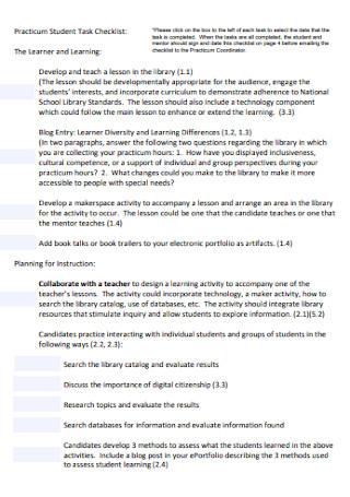 Practicum Student Task Checklist