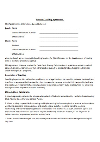 Private Coaching Agreement