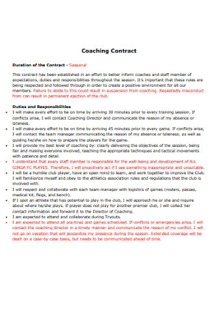 Professional Coaching Contract