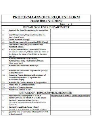 Proforma Invoice Request Form