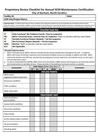 Proprietary Device Checklist for Annual