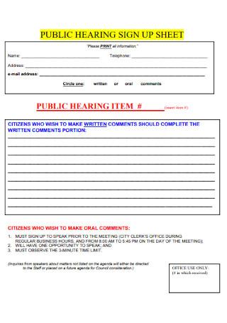 Public Hearning Sign Up Sheet