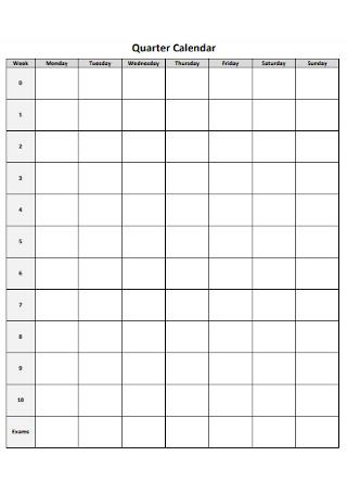 Quarter Calendar Format