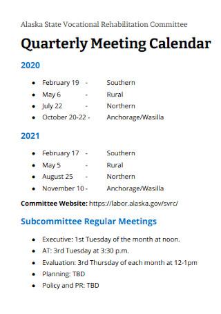 Quarterly Meeting Calendar