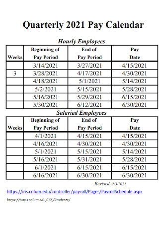 Quarterly Pay Calendar