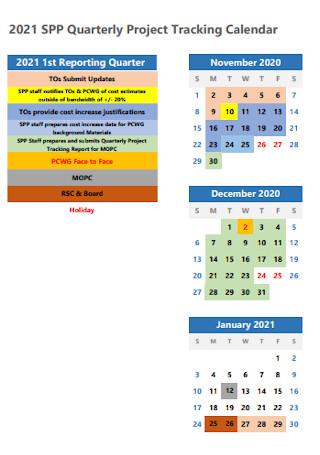 Quarterly Project Tracking Calendar
