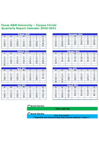 Quarterly Report Calendar