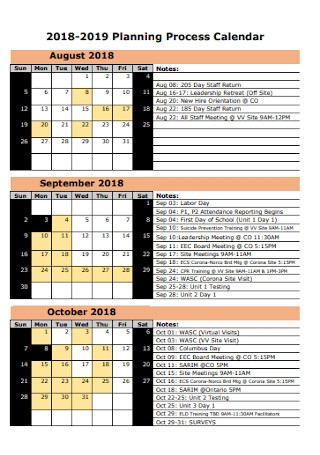Quaterly Planning Process Calendar