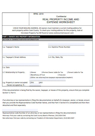 Real Property Income and Expense Worksheet