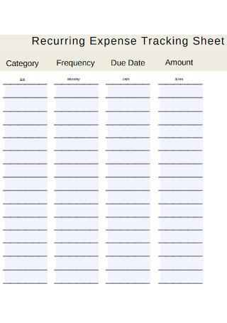 Recurring Expense Tracking Sheet