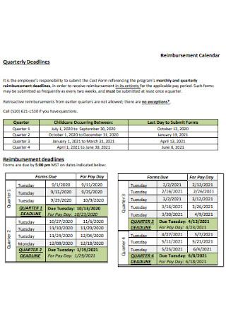 Reimbursement Quarterly Calendar